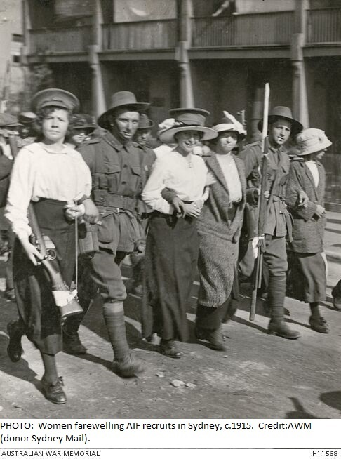 Ladies farewelling soldiers - Blog 3 with caption